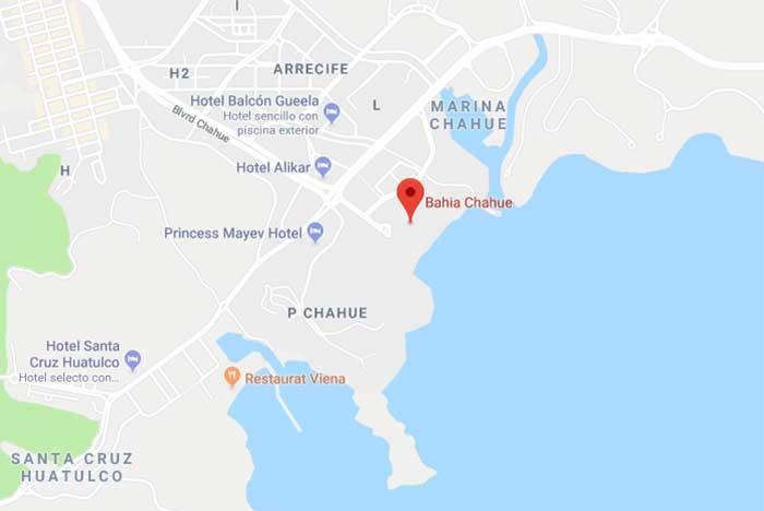 Donde se ubica la Bahía de Chahué en Huatulco