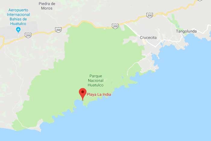 ubicación de a bahía de chachacual en huatulco
