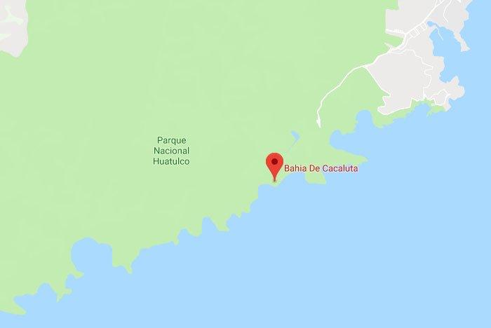 ubicación de la bahía de cacaluta en huatulco